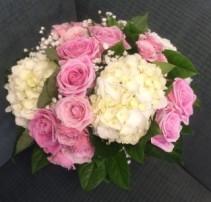 White Hydrangea And Pink Rose Wedding Bouquet
