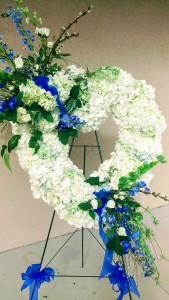 White Hydrangea Heart Funeral Standing Spray