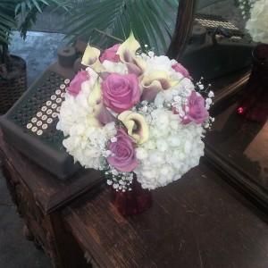 White Hydrangeas, Lavender Roses  & Picaso Cala Li Hand Tied Bridal Bouquet