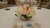 white hydrangeas with blush roses gold centerpieces