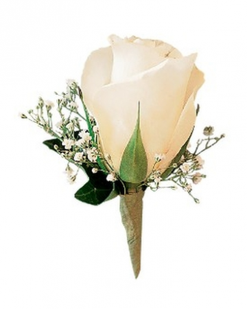White Ice Rose Boutonniere