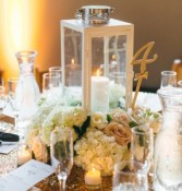 White Lantern Wedding centerpieces