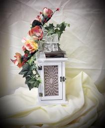 White Lantern w/LED Candle Sympathy / Gift