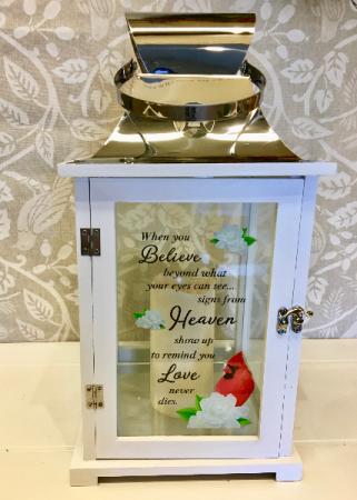 White Large Lantern with Cardinal Optional Flowers