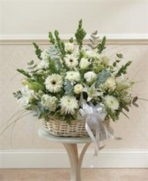 White Large Sympathy Arrangement In Basket Funeral