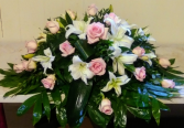 White Lilies & Pink Roses Casket Spray