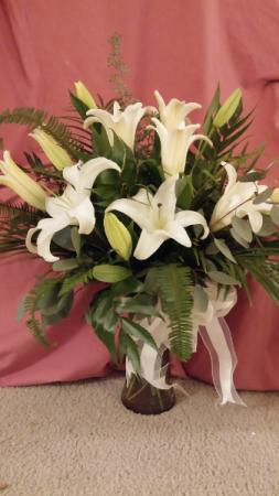 White Lilies vase arrangement