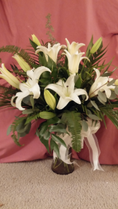White Lilies vase arrangment