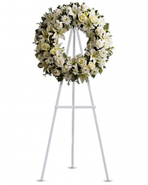 White Lilies Wreath Standing Spray