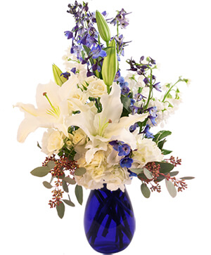 White Lilies At Sea Flower Arrangement in Worthington, OH | UP-TOWNE FLOWERS & GIFT SHOPPE