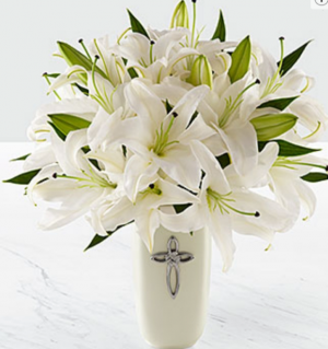 White Lilly Bouquet White lillies in cross vase in Elyria, OH   PUFFER'S FLORAL SHOPPE, INC.