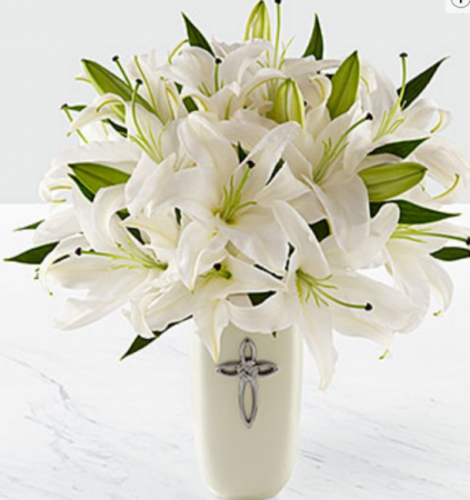 White Lilly Bouquet White Lillies In Cross Vase In Elyria Oh