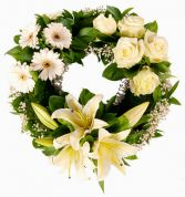 WHITE LILY & ROSE  STANDING WREATH