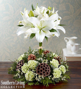 White Lily Topiary Christmas Centerpiece