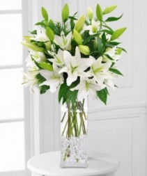 White Lily Vase Elegant Vased Arrangement