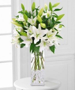 White Lily Vase Elegant Vased Arrangement in Brattleboro, VT | WINDHAM FLOWERS