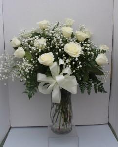 White Long Stem Rose Arrangement