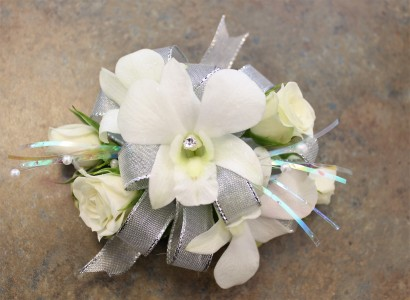 White Magic Orchids & Spray Roses Wristlet