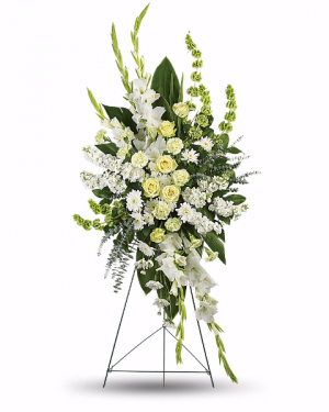 White Magnificance Standing Spray in Riverside, CA | RIVERSIDE BOUQUET FLORIST