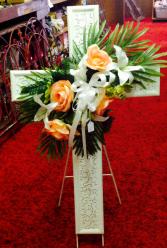 White metal cross w/flowers Memorial