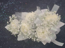 White Mini Carnation Wrist Corsage FHF-301 ***Pick Up Only***