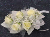 White Mini Rose Wrist Corsage  FHF-201 ****Pick Up Only****
