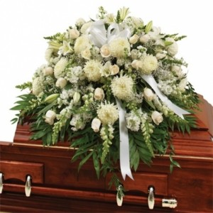 White Mix Casket Spray  in Bronx, NY | Bella's Flower Shop