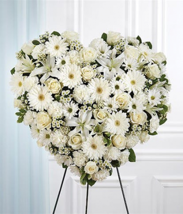 White Mixed Flower Solid Standing Heart Sympathy Arrangement