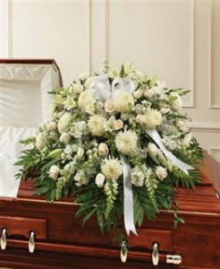 White Mixed Half Casket Cover Funeral in Crestview, FL | The Flower Basket Florist