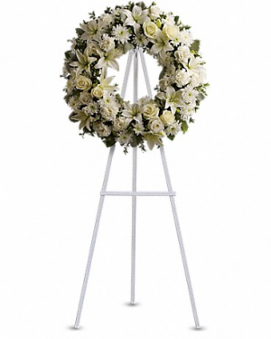 White mixed sympathy wreath Funeral Wreath in Edmonton, AB | PETALS ON THE TRAIL