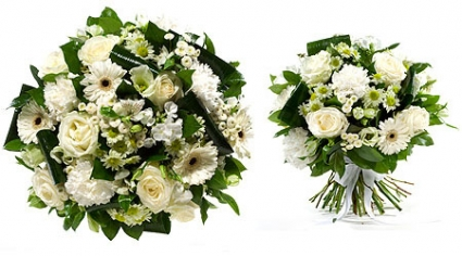 White on White Hand Tied  Bouquet