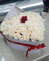 One In A Million 50 Fresh Roses. Large Heart Box