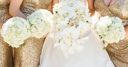 White Orchid  Bride and (3) Bridesmaids Bouquets