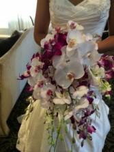 White Orchid  Cascade Bouquet