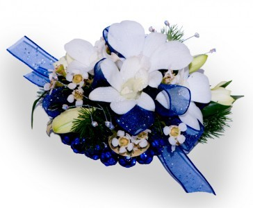 White Orchid Corsage White Orchids, Jewels and Keepsake Bracelet($5.00 Extra)