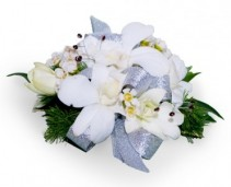 White Orchid Corsage White Orchids with Silver Ribbon