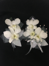White Orchid Prom Set Wrist corsage and boutonniere