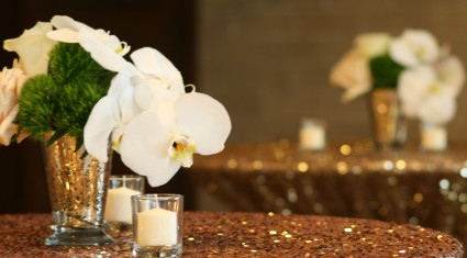 White Orchid  Pub Table Centerpieces