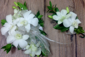 White Orchid Wrist Corsage & Boutonniere