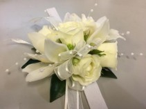 White orchide & rose corsage prom