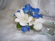 White Orchids and Delphinium Wrist Corsage