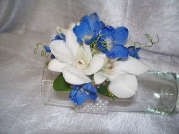 White Orchids and Delphinium Wrist Corsage