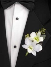 White orchids Boutonniere