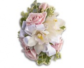 White Orchids & Pink Roses Wrist Corsage