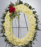 White Oval Standing Sympathy Wreath