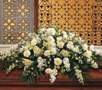 WHITE PEACE  CASKET FLOWERS