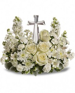 White Peace Cross Arrangement All white Arrangement with Cross