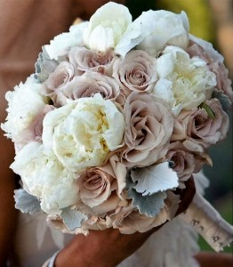 White peonies with cappuccino roses Bridal bouquet