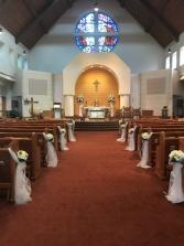 White Pew Arrangements  Wedding