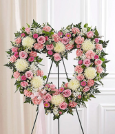 White & Pink Standing Open Heart